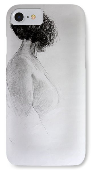 IPhone Case featuring the drawing Standing Nude by Harry Robertson