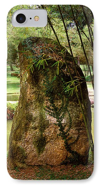 Standing Stone With Fern And Bamboo 19a IPhone Case by Gerry Gantt