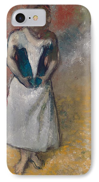 Standing Woman Seen From The Front, Clasping Her Corset IPhone Case