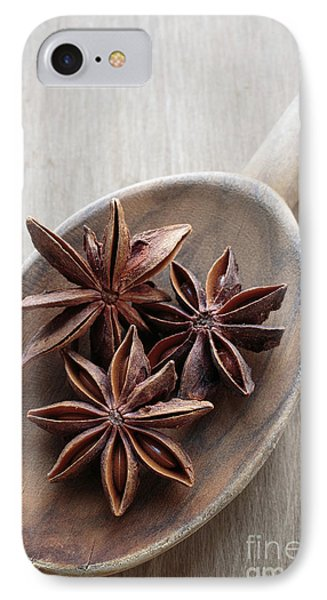 Star Anise On A Wooden Spoon IPhone Case by Edward Fielding