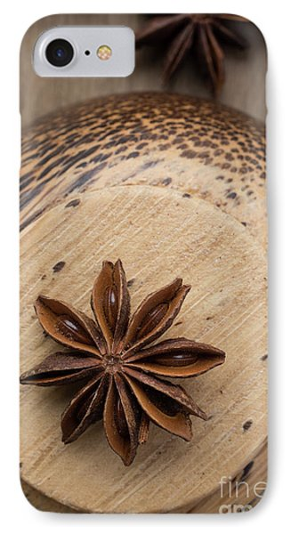 Star Anise On Wooden Bowl IPhone Case by Edward Fielding