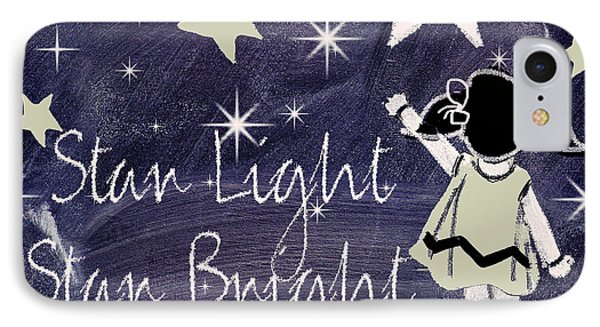 Star Light Star Bright Chalk Board Nursery Rhyme IPhone 7 Case by Mindy Sommers