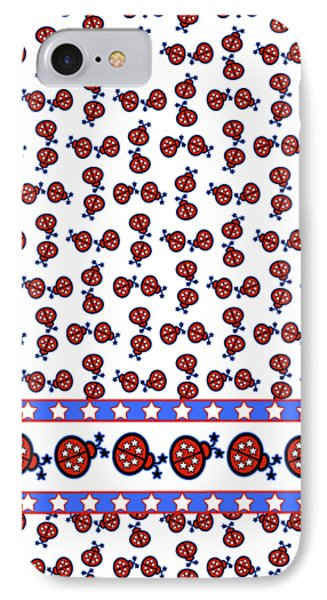 Star-spangled Lady Bugs IPhone Case by Methune Hively