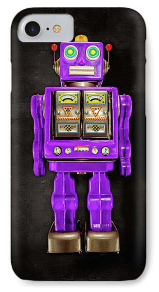 IPhone Case featuring the photograph Star Strider Robot Purple On Black by YoPedro