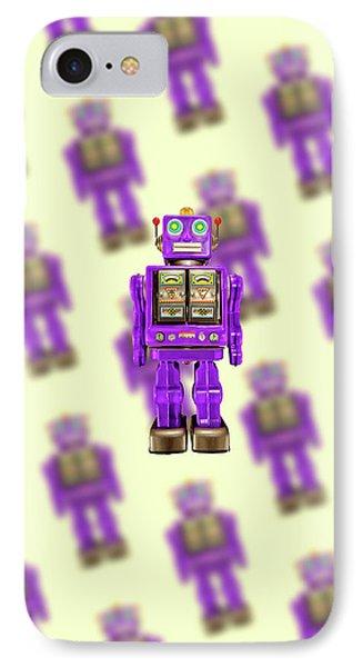 Star Strider Robot Purple Pattern IPhone Case by YoPedro