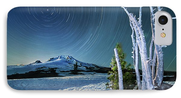 IPhone Case featuring the photograph Star Trails Over Mt. Hood by William Lee