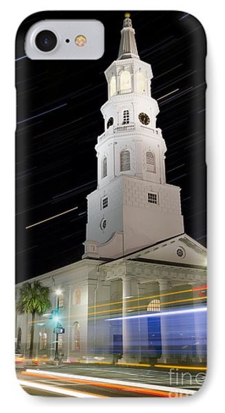 Star Trails Over St Michaels Church Charleston Sc IPhone Case by Dustin K Ryan