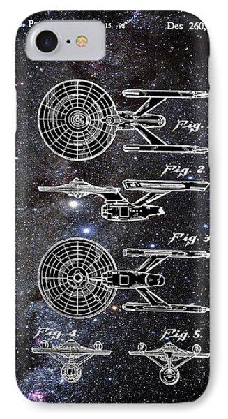 Star Trek Enterprise Patent Space IPhone Case by Bill Cannon