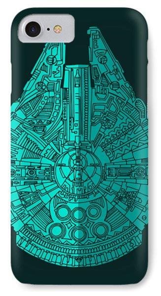 Star Wars Art - Millennium Falcon - Blue 02 IPhone 7 Case