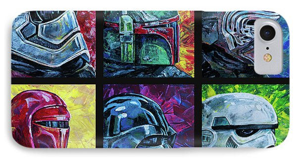 IPhone 7 Case featuring the painting Star Wars Helmet Series - Collage by Aaron Spong