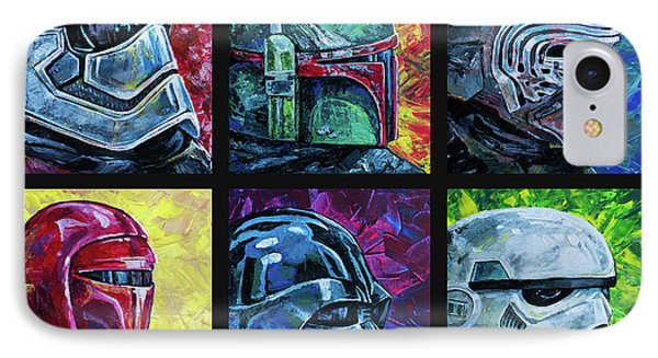 IPhone Case featuring the painting Star Wars Helmet Series - Collage by Aaron Spong