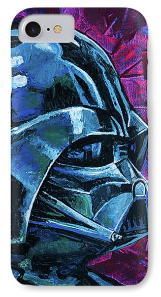 IPhone 7 Case featuring the painting Star Wars Helmet Series - Darth Vader by Aaron Spong