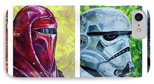 IPhone 7 Case featuring the painting Star Wars Helmet Series - Panorama by Aaron Spong