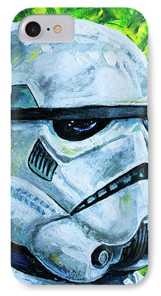 IPhone Case featuring the painting Star Wars Helmet Series - Storm Trooper by Aaron Spong