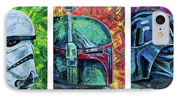 IPhone 7 Case featuring the painting Star Wars Helmet Series - Triptych by Aaron Spong
