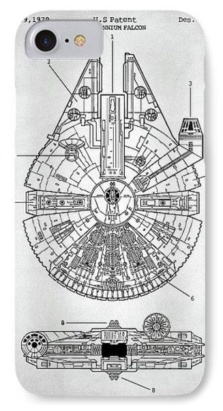 IPhone Case featuring the digital art Star Wars Millennium Falcon Patent by Taylan Apukovska