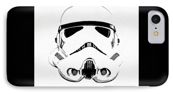 Star Wars Stormtrooper Helmet Graphic Drawing IPhone Case by Edward Fielding
