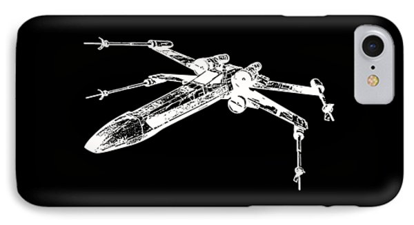 Star Wars T-65 X-wing Starfighter White Ink Tee IPhone Case by Edward Fielding