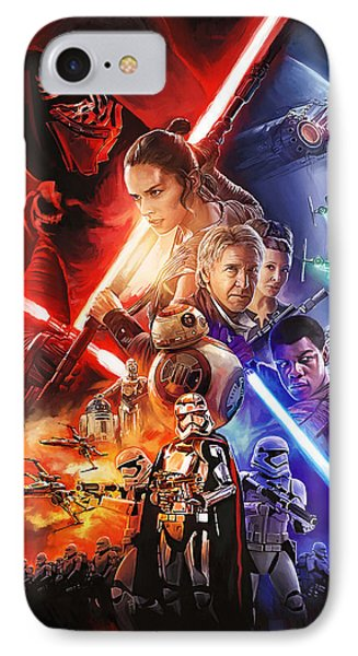 IPhone Case featuring the painting Star Wars The Force Awakens Artwork by Sheraz A