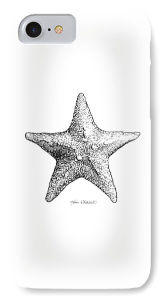 IPhone Case featuring the drawing Starfish Drawing Black And White Sea Star by Karen Whitworth