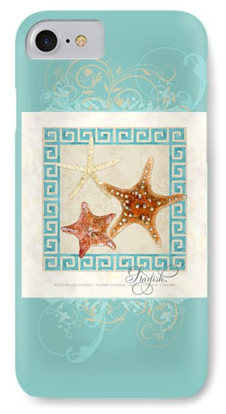 Starfish Greek Key Pattern W Swirls IPhone Case by Audrey Jeanne Roberts