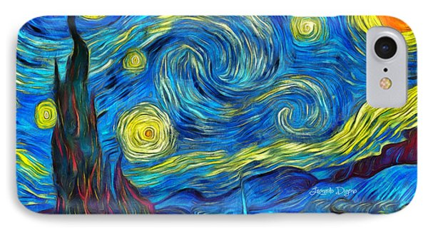Starry Night By Vincent Van Gogh Revisited IPhone Case by Leonardo Digenio