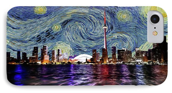 IPhone Case featuring the painting Starry Night Toronto Canada by Movie Poster Prints