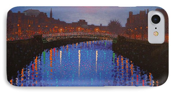 Starry Nights In Dublin Ha' Penny Bridge Phone Case by John  Nolan
