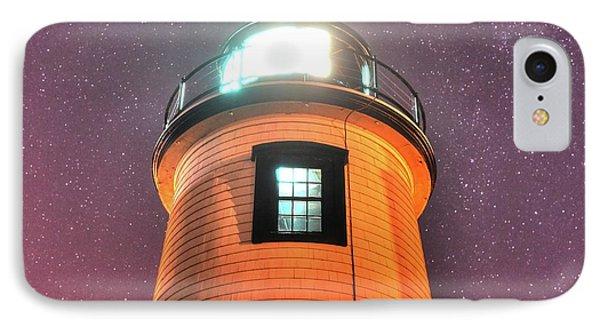 Starry Sky Over The Newburyport Harbor Light Window 2 IPhone Case by Toby McGuire