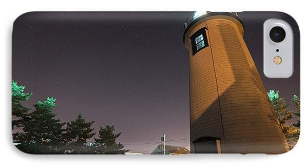 Starry Sky Over The Newburyport Harbor Light Window IPhone Case by Toby McGuire