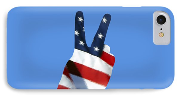 Stars And Stripes Peace Sign .png IPhone Case by Al Powell Photography USA