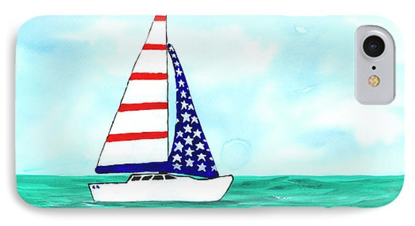 IPhone Case featuring the painting Stars And Strips Sailboat by Darice Machel McGuire