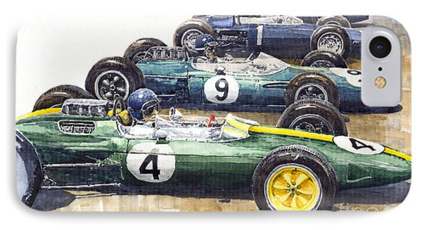 1963 Start British Gp  - Lotus  Brabham  Brm  Brabham IPhone Case by Yuriy  Shevchuk