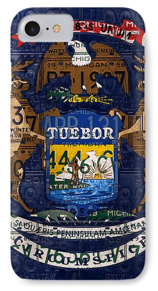 State Of Michigan Flag Recycled Vintage License Plate Art Version 1 Phone Case by Design Turnpike