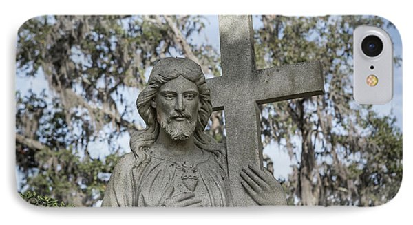 IPhone Case featuring the photograph Statue Of Jesus And Cross by Kim Hojnacki