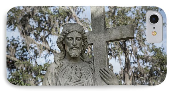 Statue Of Jesus And Cross IPhone Case