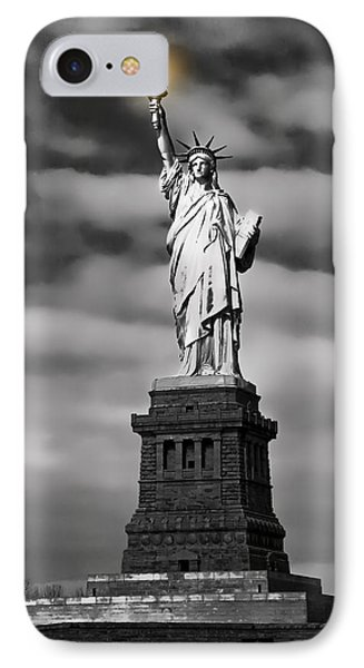 Statue Of Liberty At Dusk IPhone Case by Daniel Hagerman