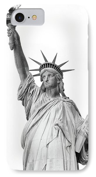 Statue Of Liberty, Black And White IPhone Case by Sandy Taylor