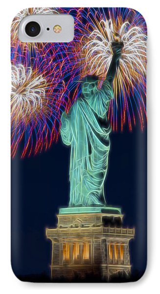 Statue Of Liberty Fireworks IPhone Case by Susan Candelario