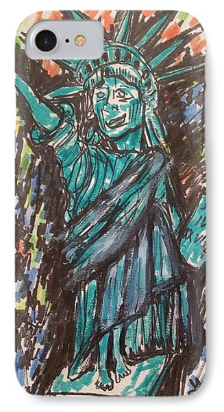 Statue Of Liberty IPhone Case by Geraldine Myszenski