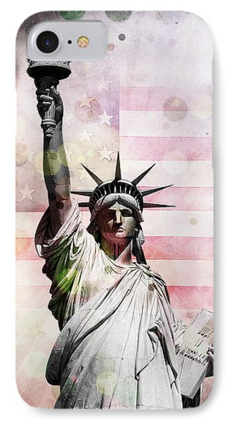 IPhone Case featuring the digital art Statue Of Liberty by Phil Perkins
