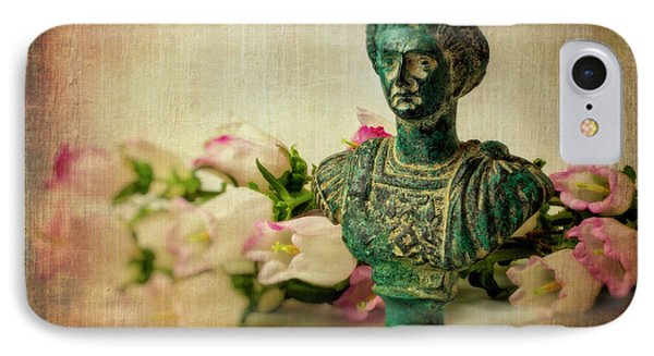Statue With Campanula Flowers IPhone Case by Garry Gay