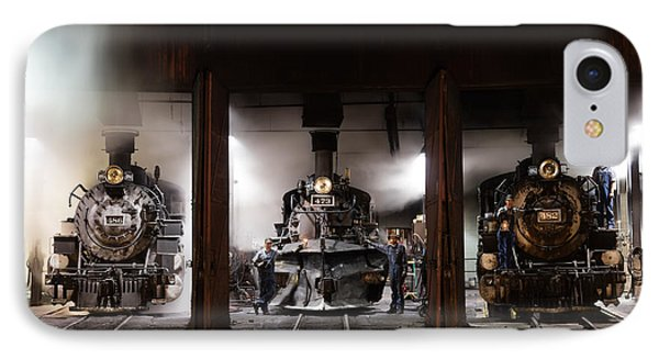 IPhone Case featuring the photograph Steam Locomotives In The Roundhouse Of The Durango And Silverton Narrow Gauge Railroad In Durango by Carol M Highsmith
