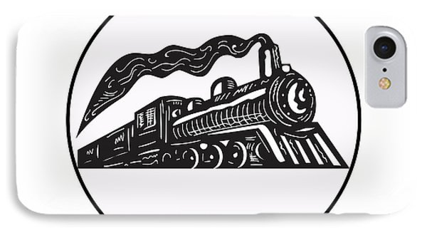 Steam Train Locomotive Coming Up Circle Woodcut IPhone Case