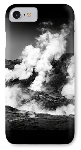 IPhone Case featuring the photograph Steaming Iceland Black And White Landscape by Matthias Hauser