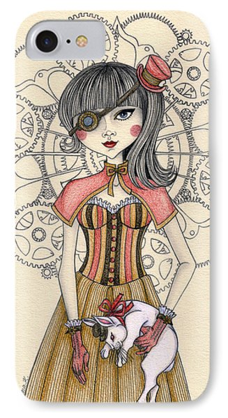 Steampunk Alice And The White Rabbit IPhone Case