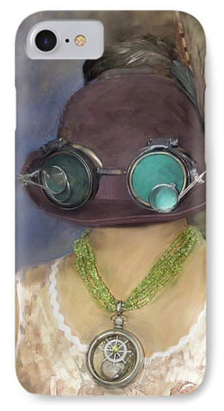 Steampunk Beauty With Hat And Goggles - Square IPhone Case by Betty Denise