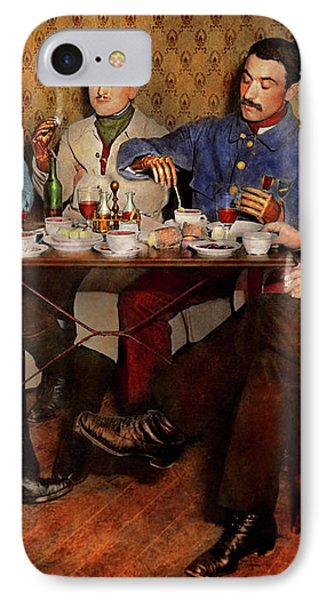 IPhone Case featuring the photograph Steampunk - Bionic Three Having Tea 1917 by Mike Savad