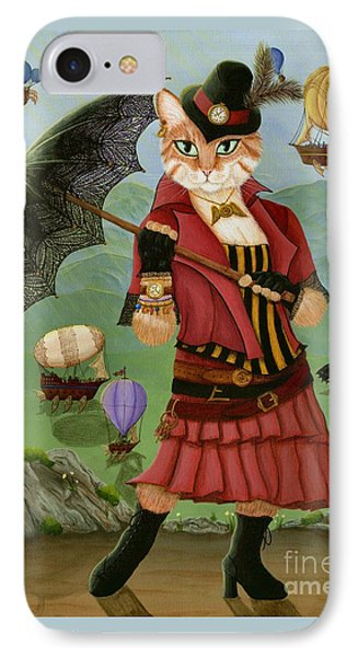 IPhone Case featuring the painting Steampunk Cat Gal - Victorian Cat by Carrie Hawks