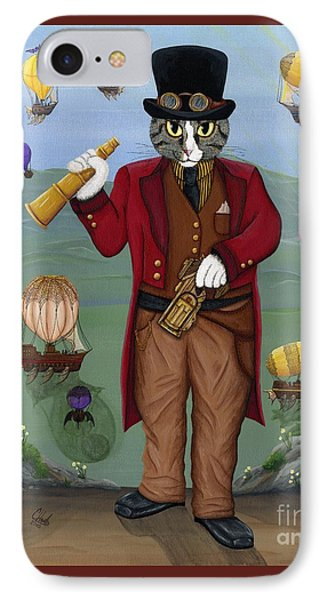 IPhone Case featuring the painting Steampunk Cat Guy - Victorian Cat by Carrie Hawks